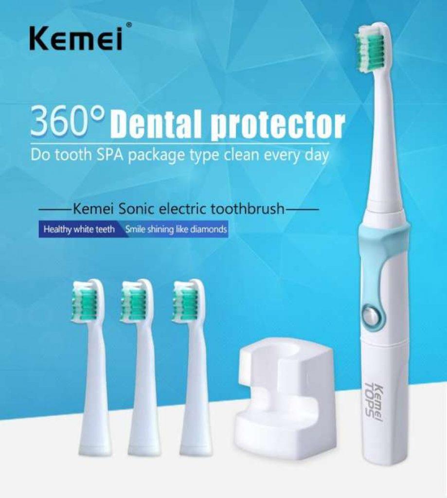 Geek lab Kemei TOPS แปรงสีฟันไฟฟ้า อุลตร้าโซนิค รุ่น KM-907