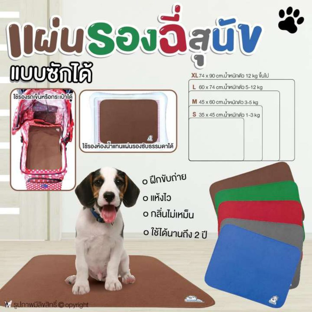 แผ่นรองฉี่สุนัข แบบซักได้ ใช้งานได้นาน Size S-XL (แบบตัวเลือก) โดย Yes pet shop
