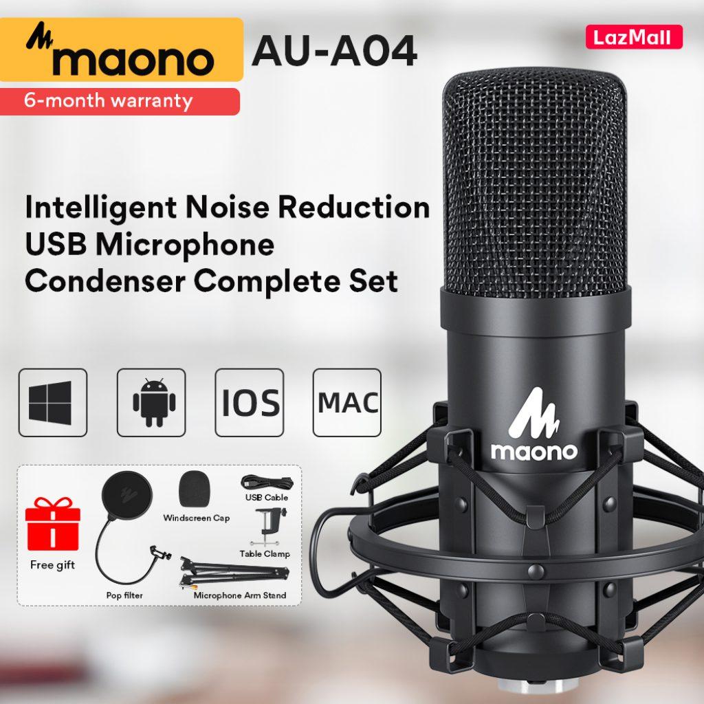 Maono-AU-A04 ไมค์ตัดเสียงรบกวน Condenser Microphone ไมค์อัดเสียง ไมค์ USB คอนเดนเซอร์
