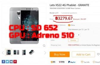 มือถือไม่เกิน 3000 บาทสเปค คุ้มค่าแนะนำ LeEco Letv X522 cpu SD 652 ram 3g